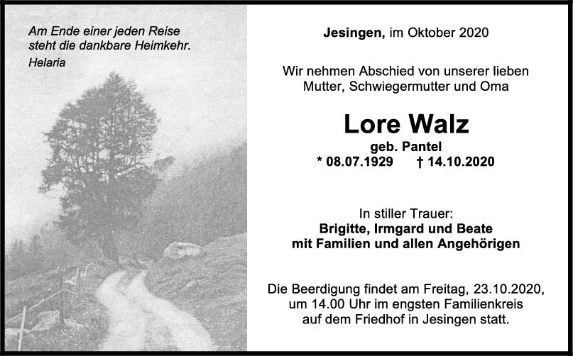 Trauer Lore Walz <br><p style=