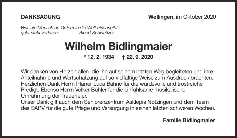 Danksagung Wilhelm Bidlingmaier <br><p style=