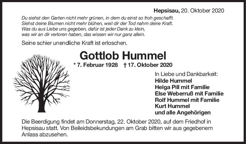 Trauer Gottlob Hummel <br><p style=