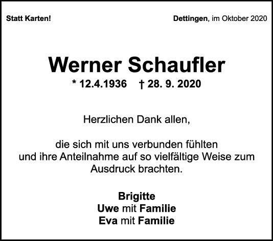 Danksagung Werner Schaufler <br><p style=