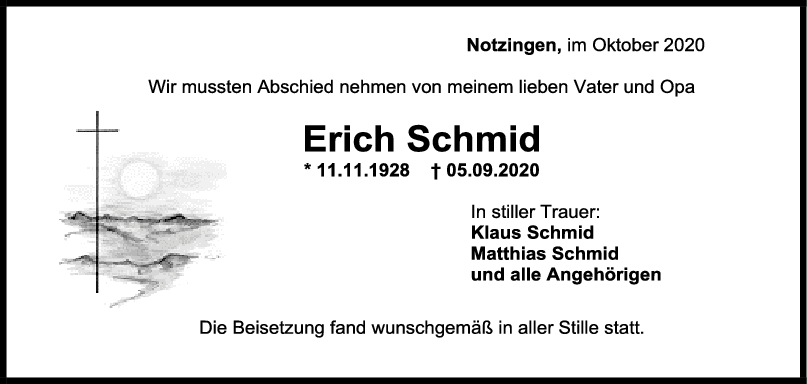 Trauer Erich Schmid <br><p style=