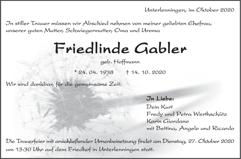 Trauer Friedlinde Gabler <br><p style=