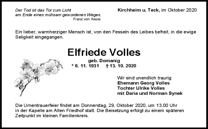 Trauer Elfriede Volles <br><p style=