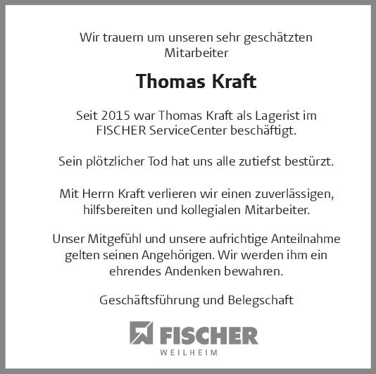 Nachruf Thomas Kraft <br><p style=