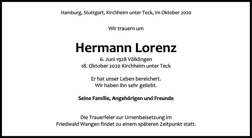 Trauer Hermann Lorenz <br><p style=
