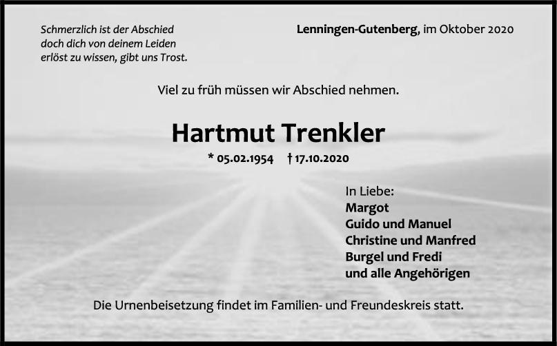 Trauer Hartmut Trenkler <br><p style=