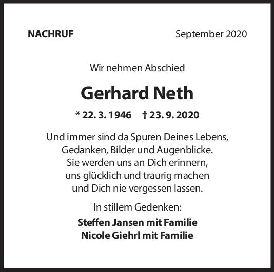 Nachruf Gerhard Neth <br><p style=