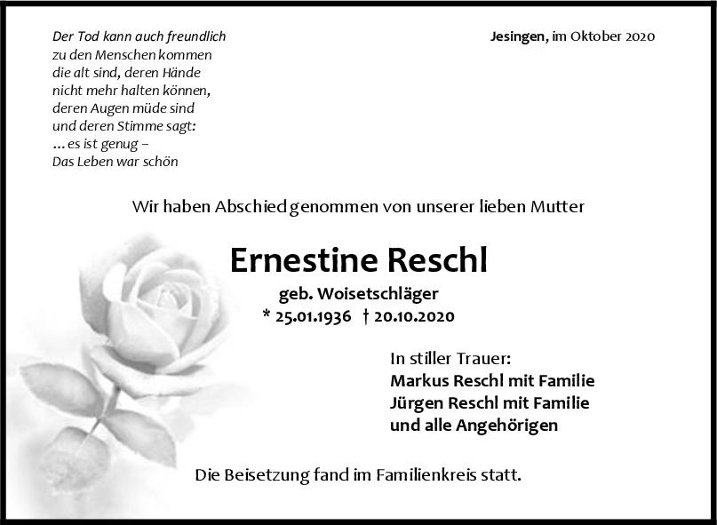 Trauer Ernestine Reschl <br><p style=