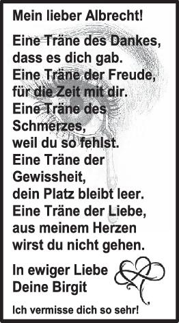 Danksagung Albrecht Dürner <br><p style=