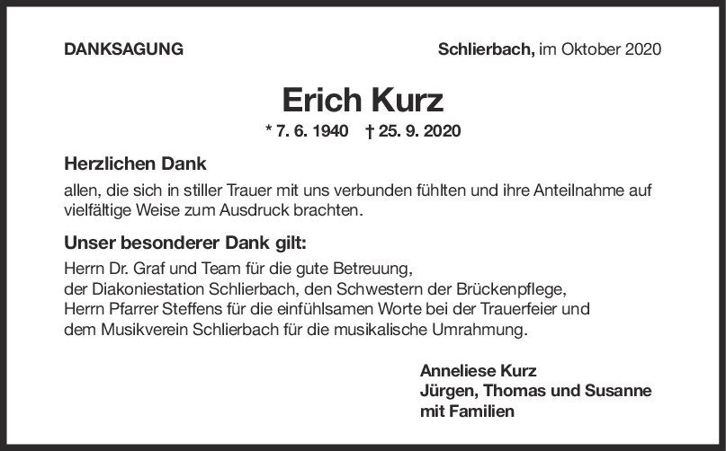 Danksagung Erich Kurz <br><p style=