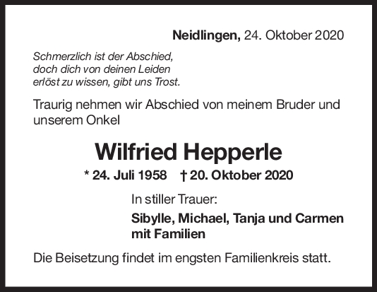 Trauer Wilfried Hepperle <br><p style=