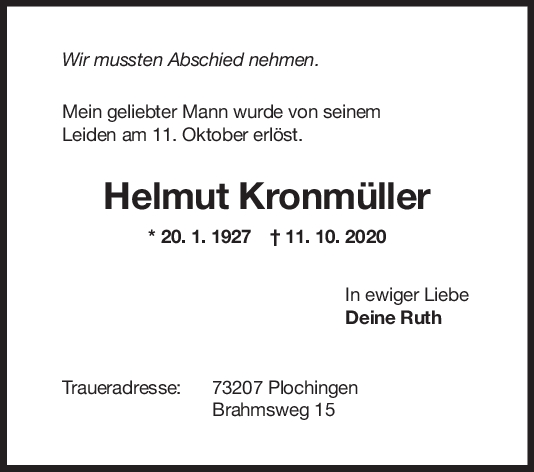 Trauer Helmut Kronmüller <br><p style=