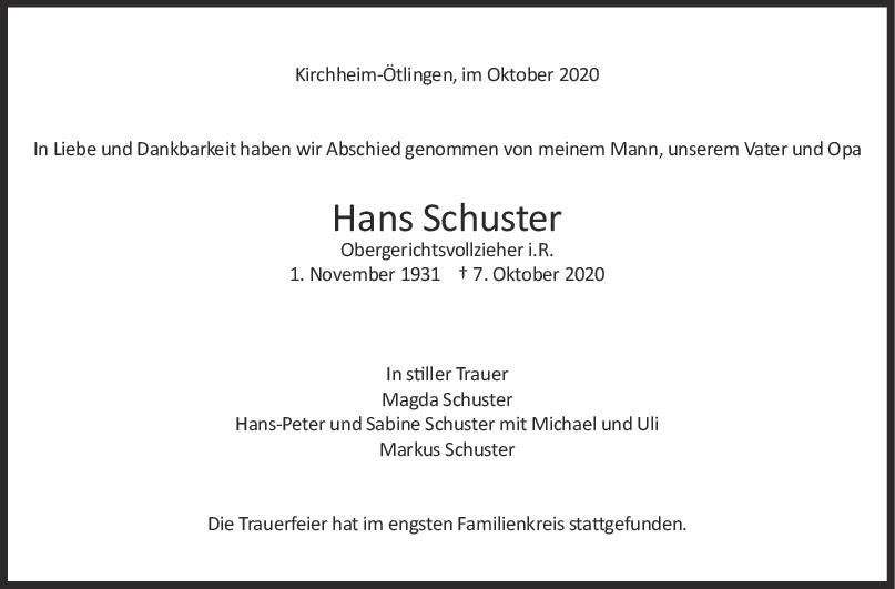 Trauer Hans Schuster <br><p style=