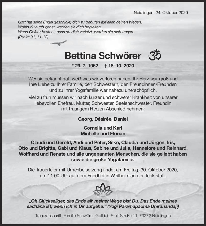 Trauer Bettina Schwörer <br><p style=