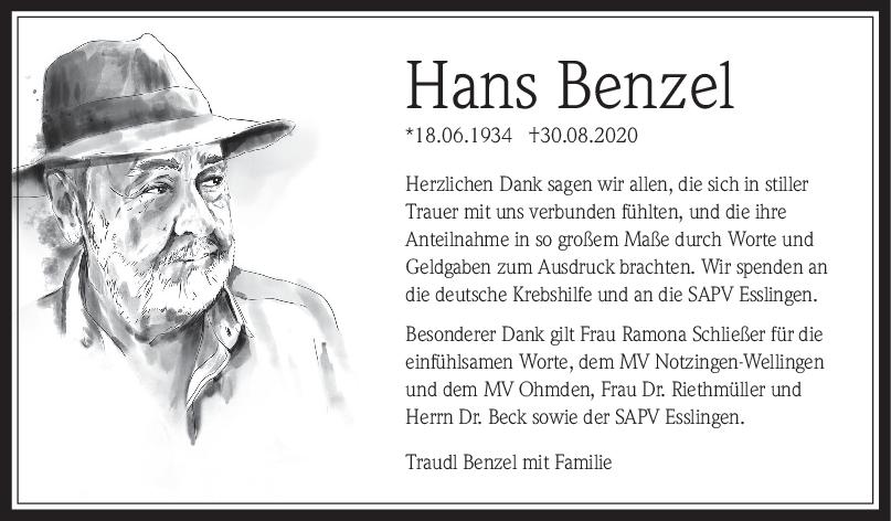 Danksagung Hans Benzel <br><p style=