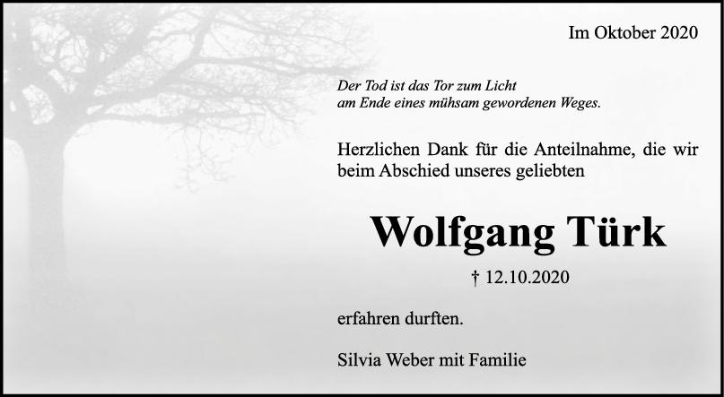Danksagung Wolfgang Türk <br><p style=