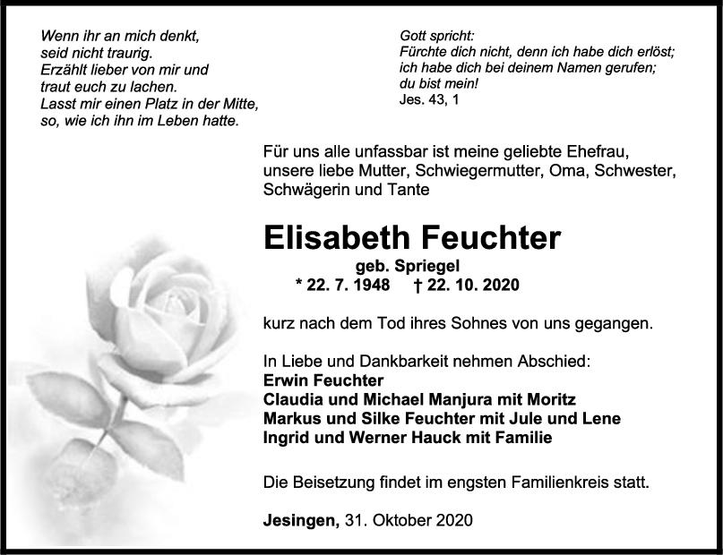 Trauer Elisabeth Feuchter <br><p style=