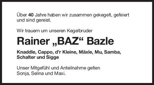 Nachruf Rainer Bazle <br><p style=