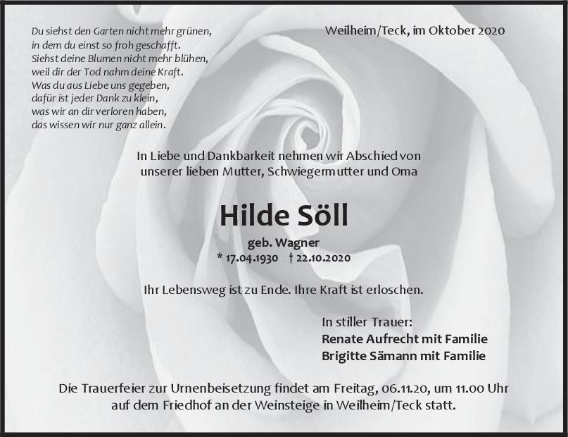 Trauer Hilde Söll <br><p style=