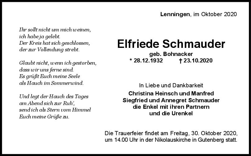 Trauer Elfriede Schmauder <br><p style=