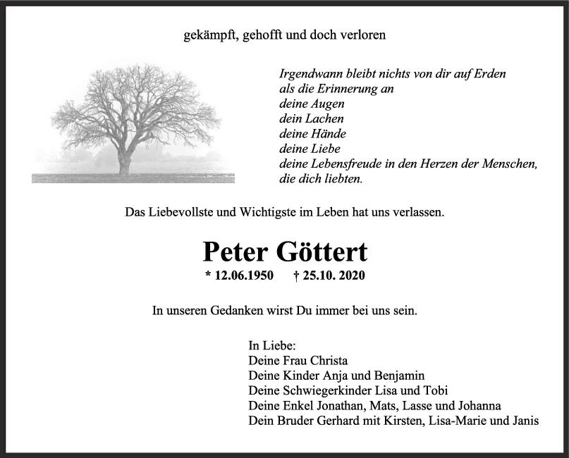 Trauer Peter Göttert <br><p style=