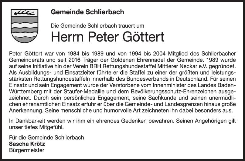Nachruf Peter Göttert <br><p style=