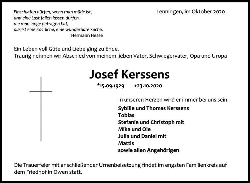 Trauer Josef Kerssens <br><p style=
