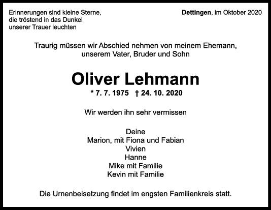 Trauer Oliver Lehmann <br><p style=