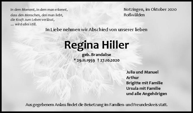 Trauer Regina Hiller <br><p style=