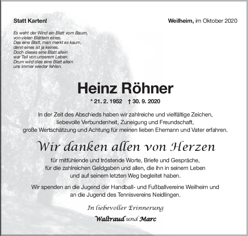 Danksagung Heinz Röhner <br><p style=