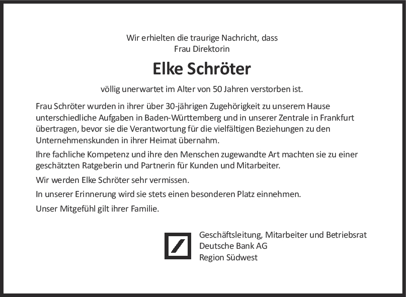 Nachruf Elke Schröter <br><p style=