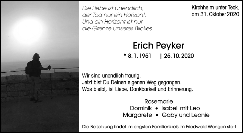 Trauer Erich Peyker <br><p style=