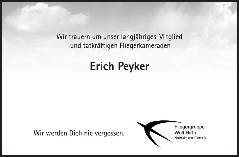 Nachruf Erich Peyker <br><p style=