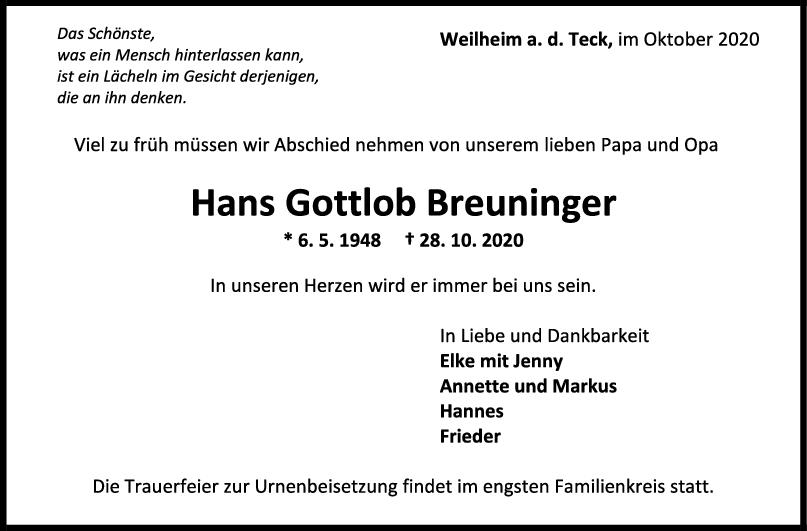 Trauer Hans Gottlob Breuninger <br><p style=