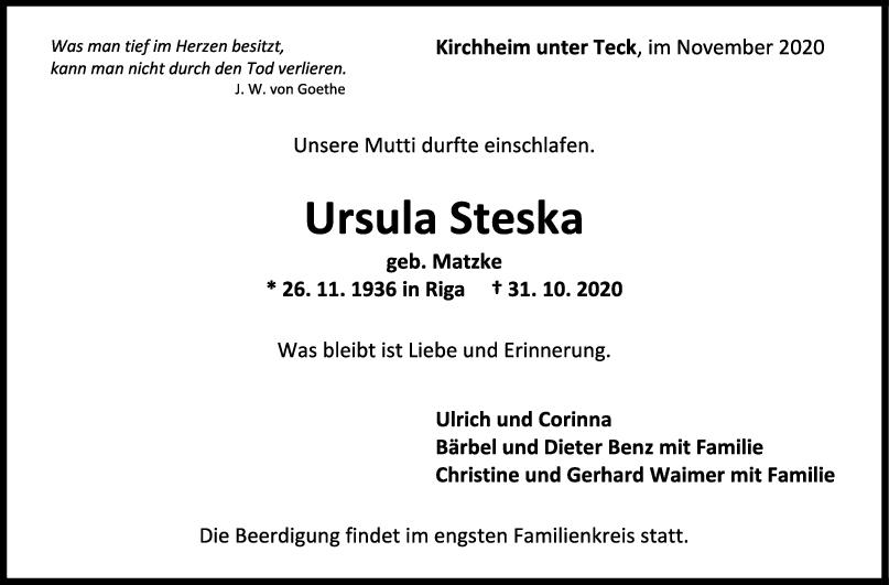 Trauer Ursula Steska <br><p style=
