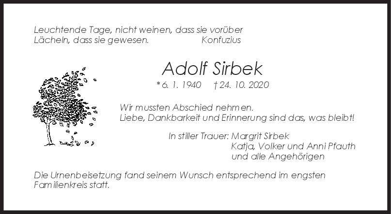 Trauer Adolf Sirbek <br><p style=
