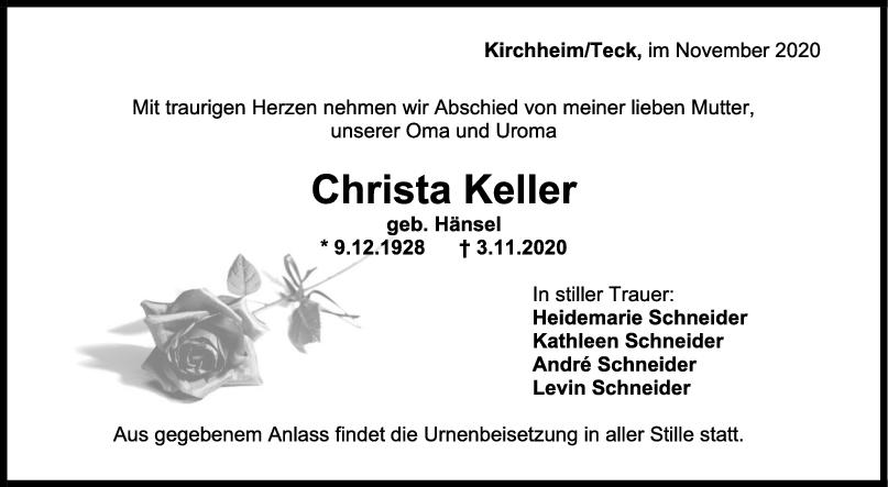 Trauer Christel Keller <br><p style=