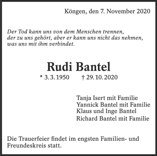 Trauer Rudi Bantel <br><p style=