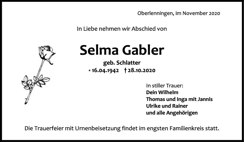 Trauer Selma Gabler <br><p style=