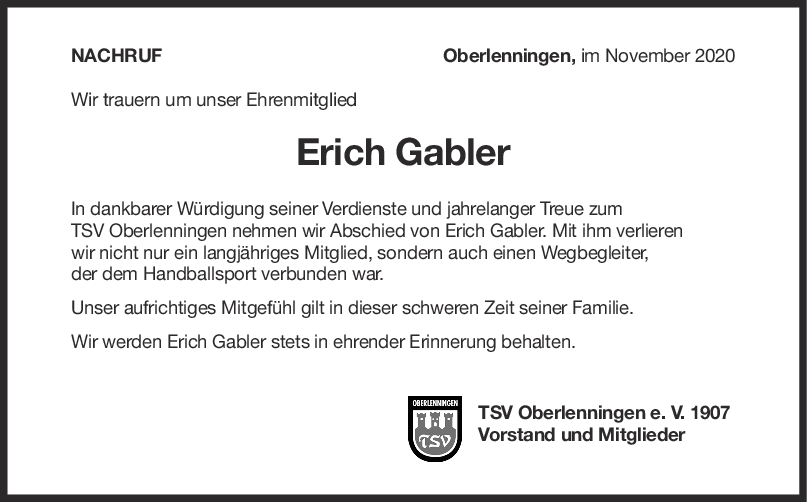 Nachruf Erich Gabler <br><p style=