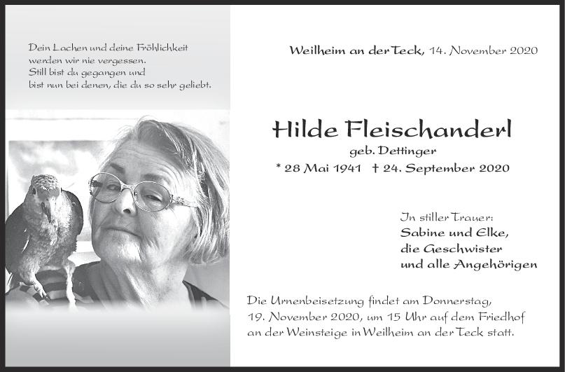 Trauer Hilde Fleischanderl <br><p style=