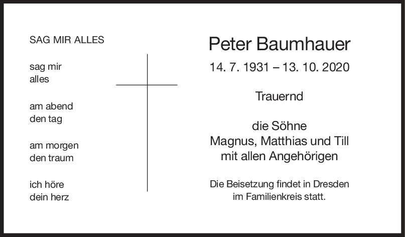 Trauer Peter Baumhauer <br><p style=
