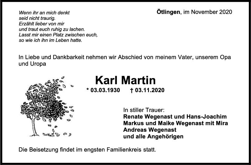 Trauer Karl Martin <br><p style=