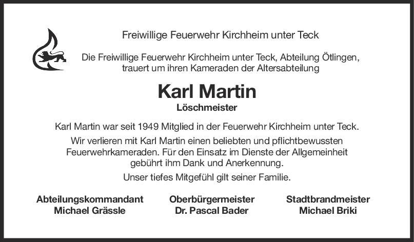 Nachruf Karl Martin <br><p style=