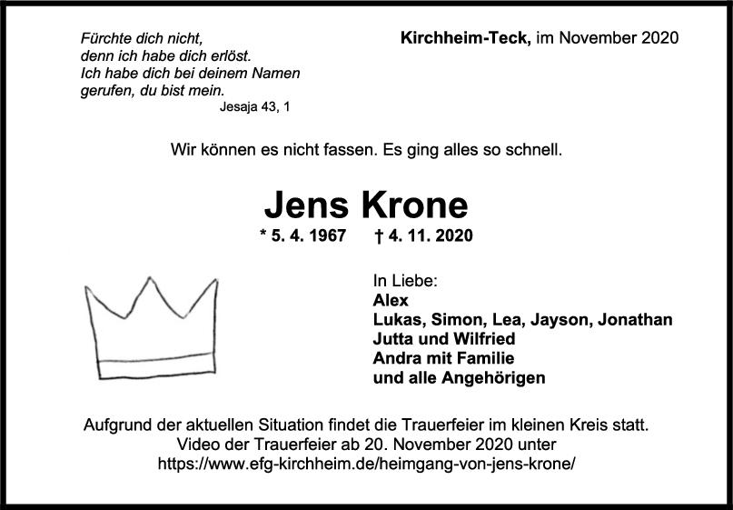 Trauer Jens Krone <br><p style=