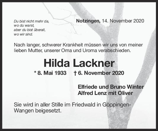 Trauer Hilda Lackner <br><p style=