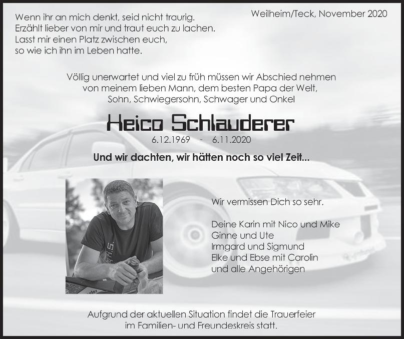 Trauer Heico Schlauderer <br><p style=