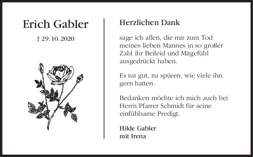 Danksagung Erich Gabler <br><p style=