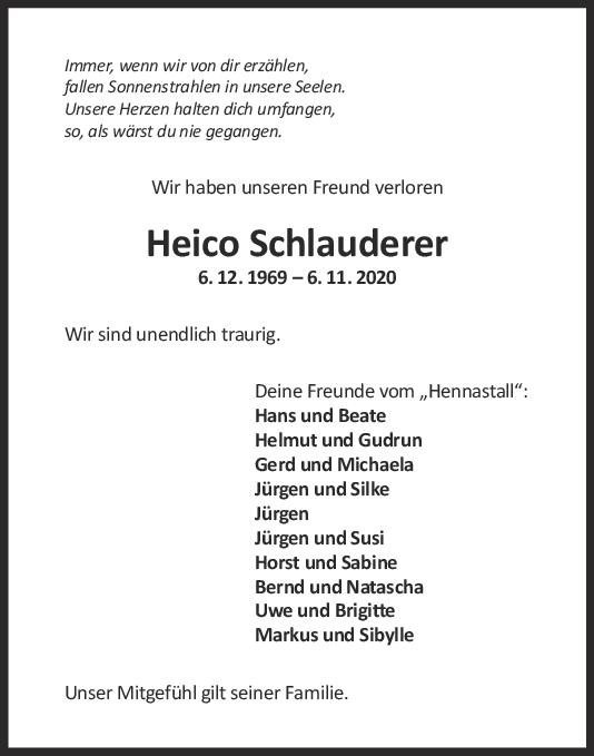 Nachruf Heico Schlauderer <br><p style=