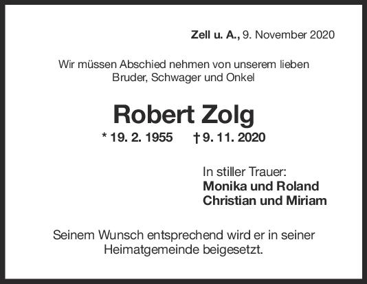 Trauer Robert Zolg <br><p style=